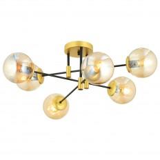 Vanna 6'Lı Cam Detaylı Plafonyer Avize - Gold