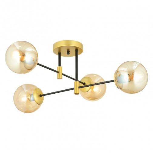 Vanna 4'Lü Asimetrik Cam Detaylı Plafonyer Avize - Gold